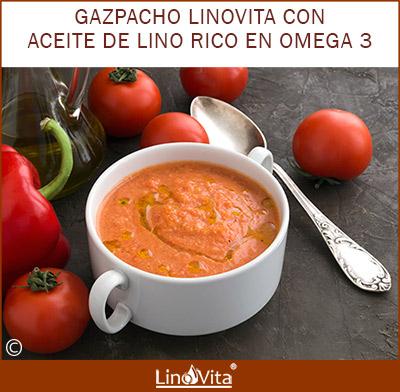 Gazpacho LinoVita anticancer rico en omega 3 y antioxidantes