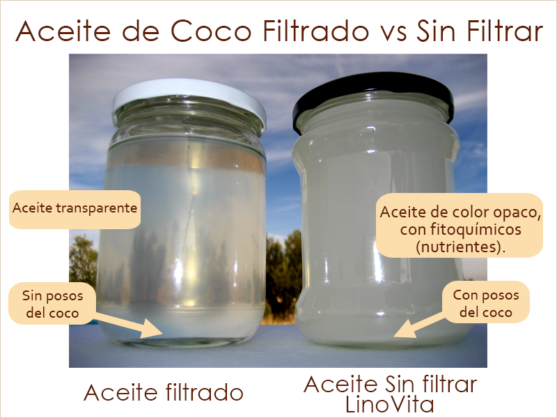 aceite de coco crudo sin filtrar