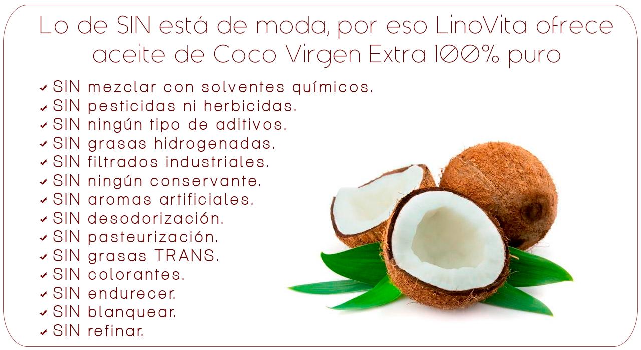 aceite de coco sin refinar, sin blanquear, sin aditivos, sin aromas artificiales